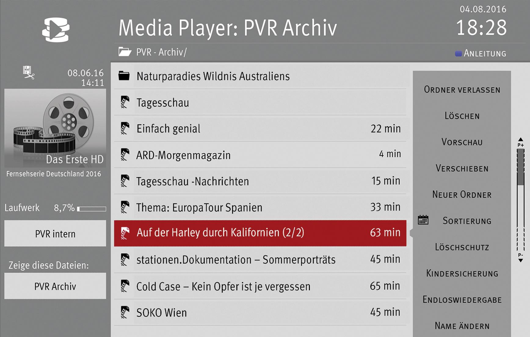 PVR Aufnahmen Metz TV
