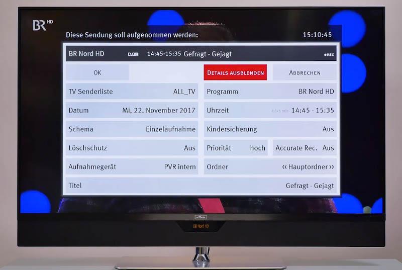 Mit Metz TV aufnehmen