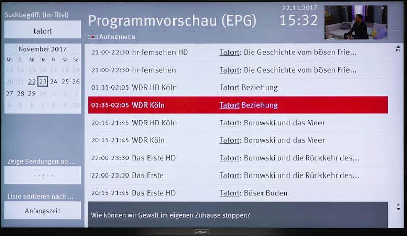 Sendungen suchen und aufnehmen mit Metz TV
