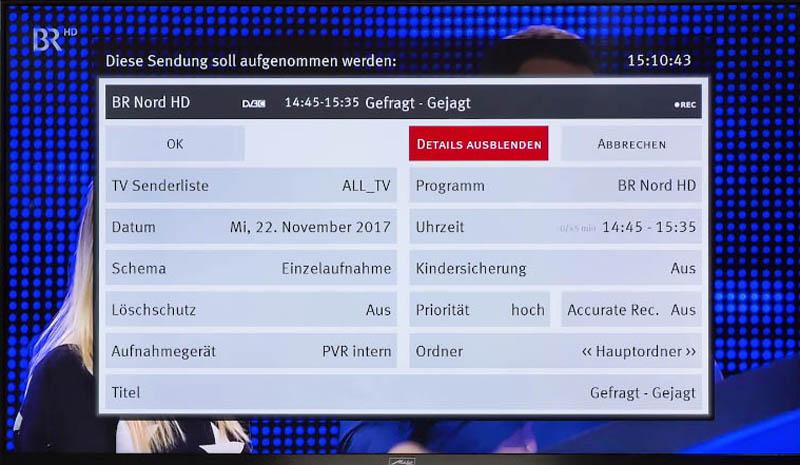 Wie nimmt man Sendugnen mti Metz TV auf