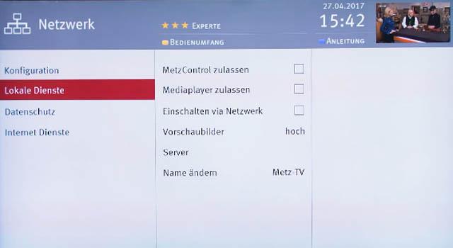 Lokale Dienste - Einstellungen Metz Smart TV